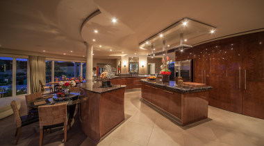 The kitchen, is the focal point of the ceiling, estate, home, interior design, kitchen, lobby, real estate, brown