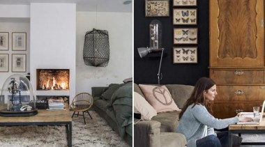 Love the fireplace - Living Room - chair chair, couch, furniture, home, interior design, living room, room, table, wall, gray, black
