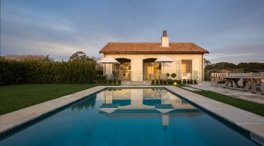 Pool - estate | hacienda | home | estate, hacienda, home, house, mansion, property, real estate, reflection, sky, swimming pool, villa, water, teal