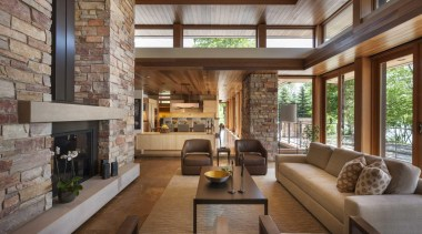 This new house, designed by Charles R Stinson house, interior design, living room, lobby, real estate, brown, gray