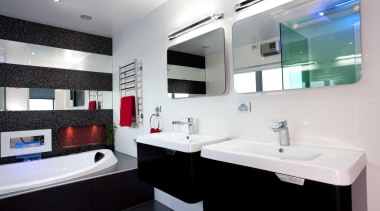 Black and white bathroom with red and blue bathroom, interior design, product design, room, white, black