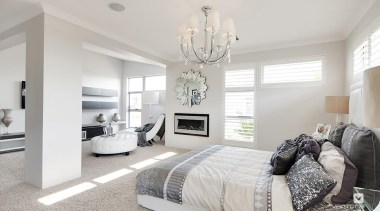 Master ensuite design. - The Temptation Display Home bed frame, bedroom, ceiling, floor, home, interior design, living room, property, real estate, room, wall, window, gray