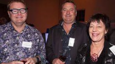 Mal Corboy, Martin Plom (Elite Cabinetry) and Lynn socialite, staff, red