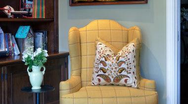 Wing chair corner. - Wing chair corner. - chair, couch, furniture, home, interior design, living room, room, table, wall, black