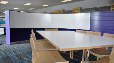 Potter Interior Systems creates customised whiteboard solutions for ceiling, conference hall, floor, flooring, furniture, interior design, office, product design, table, gray