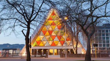 EXCELLENCE AWARDChristchurch Transitional Cathedral (3 of 4) architecture, christmas decoration, christmas tree, facade, tourist attraction, tree