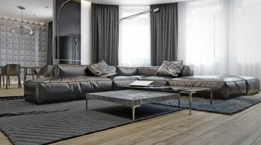 cozy leather sofa - Masculine Apartments - couch couch, floor, flooring, furniture, interior design, living room, table, wall, wood flooring, gray, white