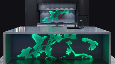 Every kitchen needs a hero and a vibrant aquarium, furniture, product, product design, table, black, teal