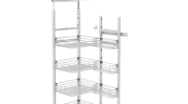Giamo Short Chef Larder with Wire Shelves Rear angle, furniture, product, shelf, shelving, structure, white