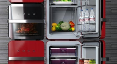 Red Smeg Fridge - Red Smeg - home home appliance, kitchen appliance, major appliance, product, product design, refrigerator, shelf, shelving, black, gray