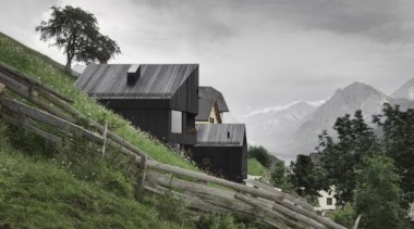 Residence and Chalet 'la pedevilla', Pliscia, Val Badia, alps, cloud, cottage, highland, hill station, house, hut, mountain, mountain pass, mountain range, mountainous landforms, sky, terrain, tree, gray, brown