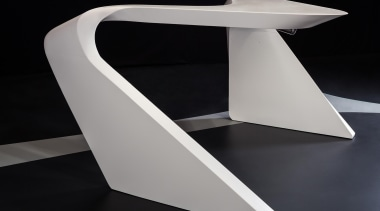 Samsung Staron solid surfaces are suitable for any angle, furniture, product design, table, black, gray