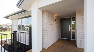 The permanence of a kiln fired clay brick balcony, daylighting, deck, door, facade, floor, home, house, interior design, porch, property, real estate, siding, window, white