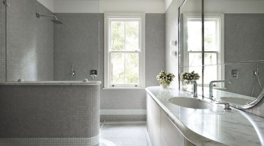 SJB Interiors, SydneySee the full storyThis bathroom bathroom, countertop, floor, home, interior design, plumbing fixture, property, room, sink, tile, window, gray, white