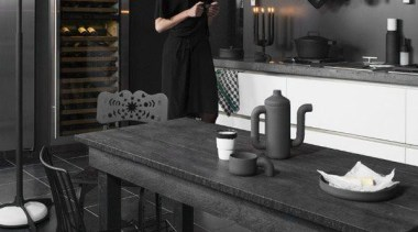 Black Kitchen and Dining Room - (Matte ) black, black and white, countertop, floor, flooring, furniture, interior design, kitchen, room, table, black