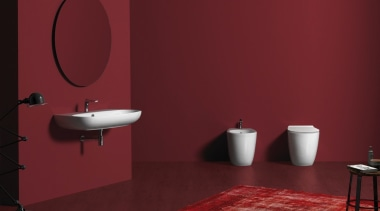 Vignoni 05 - bathroom | bathroom accessory | bathroom, bathroom accessory, ceramic, floor, flooring, interior design, plumbing fixture, purple, red, room, tap, tile, toilet, wall, red