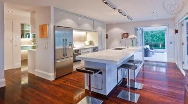 Modern Kitchen - Modern Kitchen - countertop | countertop, floor, flooring, hardwood, home, interior design, kitchen, laminate flooring, living room, real estate, room, wood flooring, gray