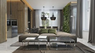 modern couch - Masculine Apartments - floor | floor, furniture, interior design, living room, gray, black