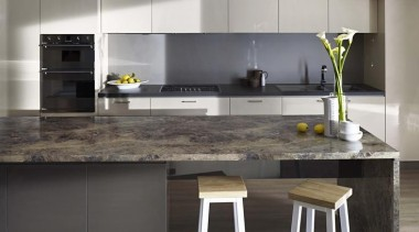 Back benchtop Laminex Colour Palette Fossil. Upper and countertop, cuisine classique, floor, interior design, kitchen, product design, gray, black