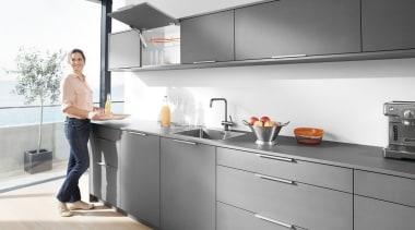 Lift System - AVENTOS HK XS - countertop countertop, home appliance, interior design, kitchen, kitchen appliance, major appliance, white, gray
