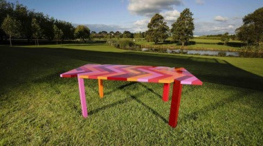 Winning design, Professional Section Hugh Worth: Red Herringbone furniture, grass, lawn, leisure, meadow, table, brown