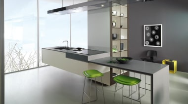 This kitchen features a Laminex Solid Surface floating countertop, furniture, glass, interior design, kitchen, product design, table, gray