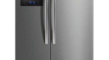 584L Side-by-Side Fridge FreezerGross Capacity: 584L349L Fridge + home appliance, kitchen appliance, major appliance, product, product design, refrigerator, gray, white