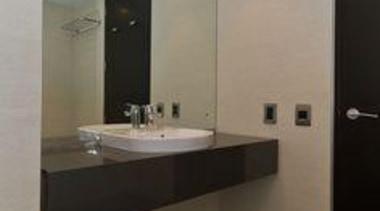 After the renovation. Laminam tiles were fixed over bathroom, ceiling, floor, flooring, interior design, property, real estate, room, sink, tile, gray, black