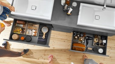 AMBIA-LINE inner dividing system – organization at its floor, furniture, kitchen, product design, table, wood, white