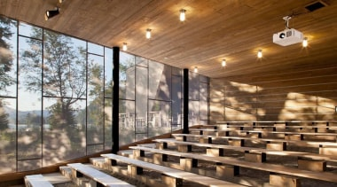 The Mont-Tremblant national park discovery centre in Québec architecture, interior design, wood, brown
