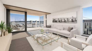 132 Halsey is a centrepiece of Wynyard Quarter, apartment, architecture, balcony, condominium, estate, house, interior design, living room, penthouse apartment, property, real estate, window, gray