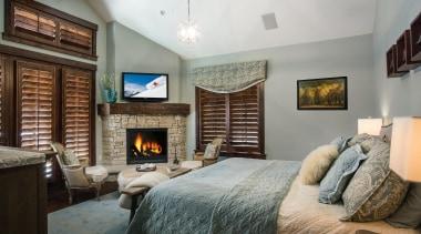 Mountain Modern - Master Bedroom - bedroom   bedroom, ceiling, estate, home, interior design, living room, property, real estate, room, wall, gray