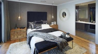 Master ensuite design. - The Macquarie Display Home bed frame, bedroom, ceiling, floor, flooring, home, interior design, living room, property, real estate, room, wall, wood, gray, black