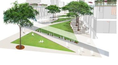 British landscape architecture firm Grant Associates working with architecture, elevation, grass, mixed use, plant, product design, real estate, residential area, tree, urban design, white