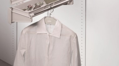 Ambos Side Mounted Wardrobe Fittings are ideal for clothes hanger, product design, sleeve, white, gray
