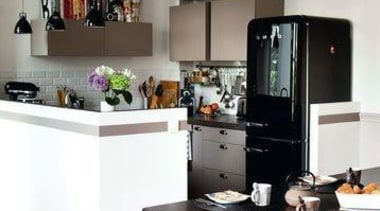 Smeg black fab fridge with freezer**Please note not countertop, home appliance, interior design, kitchen, gray