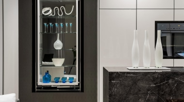 Winner Kitchen Design and Kitchen of the Year home, interior design, living room, room, wall, gray, black