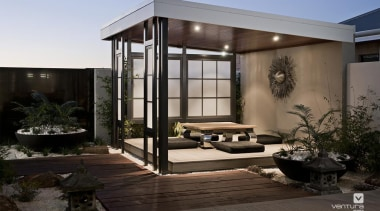 Japanese Alfresco Design. - The Dynasty Display Home architecture, courtyard, home, house, real estate, window, black, gray