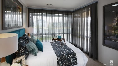 Bedroom design. - The Macquarie Display Home - bedroom, ceiling, interior design, property, real estate, room, window, gray, black