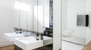 Eva-Marie Prineas of Architect Prineas.This bathroom bathroom, floor, flooring, interior design, product design, sink, tap, white