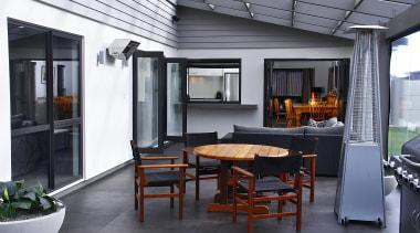 Outdoor living area - interior design | patio interior design, patio, gray, black