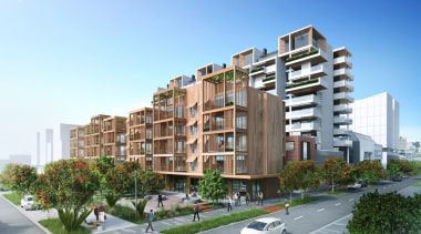 The first stage of Wynyard Central is an apartment, architecture, building, condominium, elevation, home, metropolitan area, mixed use, neighbourhood, property, real estate, residential area, tower block, urban design, white