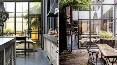 necer enough light and space in the kitchen furniture, interior design, outdoor structure, patio, gray, white, black