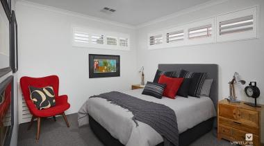 Bedroom design. - The Monterosso Two Storey Display bed frame, bedroom, ceiling, home, interior design, property, real estate, room, gray