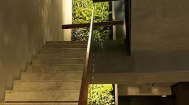 Living Wall - Vertical Garden - architecture | architecture, ceiling, daylighting, glass, handrail, home, house, interior design, stairs, wall, window, wood, brown