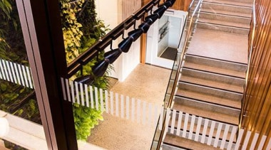 BEST IN CATEGORYCeres Organics (3 of 4) - architecture, daylighting, deck, floor, flooring, glass, handrail, hardwood, house, stairs, window, wood, white
