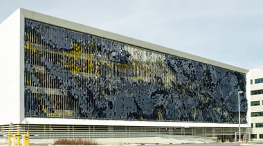 This display on the parking structure at Eskenazi architecture, building, corporate headquarters, facade, structure, white
