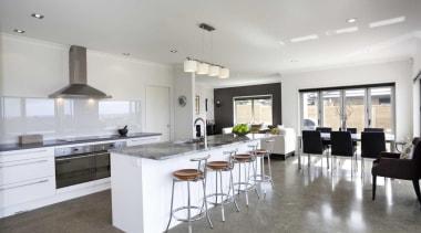 White kitchen design by Yellowfox - Kitchen - countertop, floor, flooring, interior design, kitchen, property, real estate, room, gray