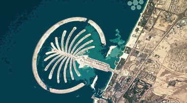 World's First Underwater Tennis Complex 04 - World's aerial photography, artificial island, fixed link, organism, teal