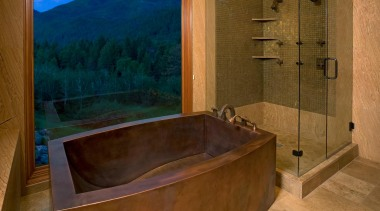 Fully Skirted Copper Tub is Fabricated with Contoured bathroom, bathtub, estate, interior design, property, room, wood, brown